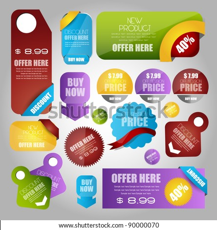 sale tags banner and sticker collection