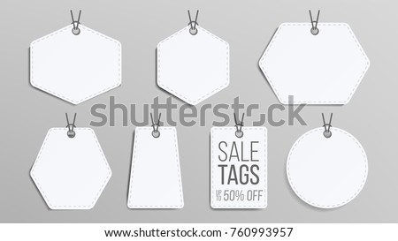 Sale Tags Blank Vector. White Empty Shopping Discounts Stickers. Tag Price Template. Discount Banners Shape Set. Promotion Illustration