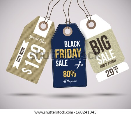 Sale Tags for special offers and black friday