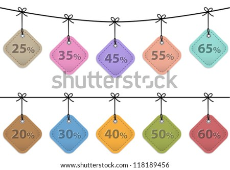 Sale tags. Leather labels for commerce. Vector set