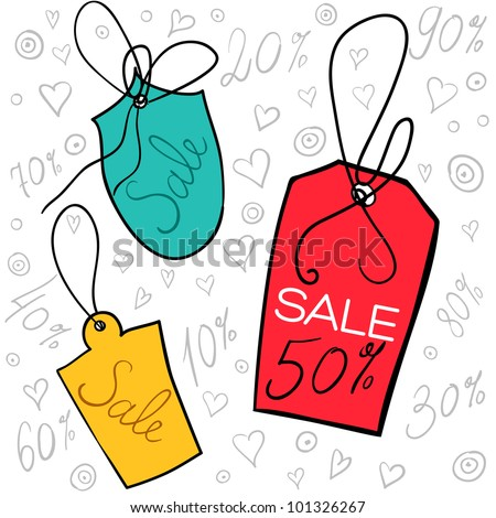 Sale tags on string, vector illustration for your website or store