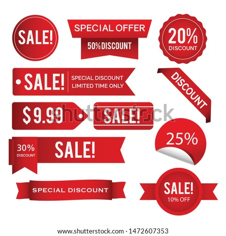 sale tags red and white color design- can change color vector design