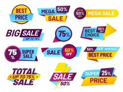 Sale tags. Retail sales stickers, promotion price label and store pricing banner sticker. Web sale promo tag or best special cheap prices discount. Total mega sale isolated vector icons set