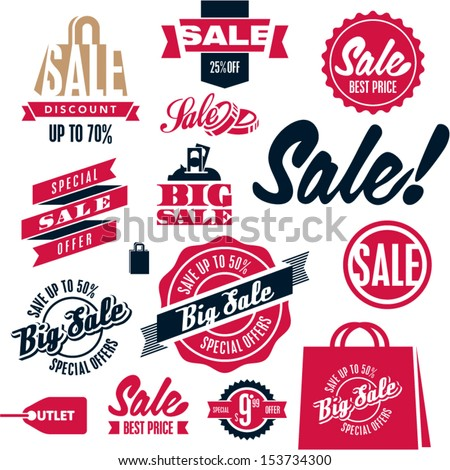 Sale tags. Sale banners set. Shopping.