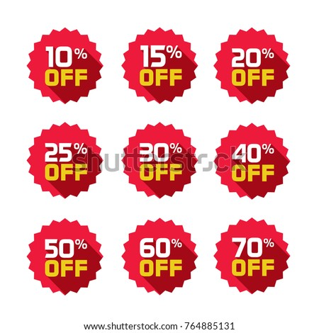 Sale tags set vector badges template, 10 off, 15 %, 20, 25, 30, 40, 50, 60, 70 percent off label symbols, discount promotion flat icon with long shadow, clearance sale sticker emblem red rosette