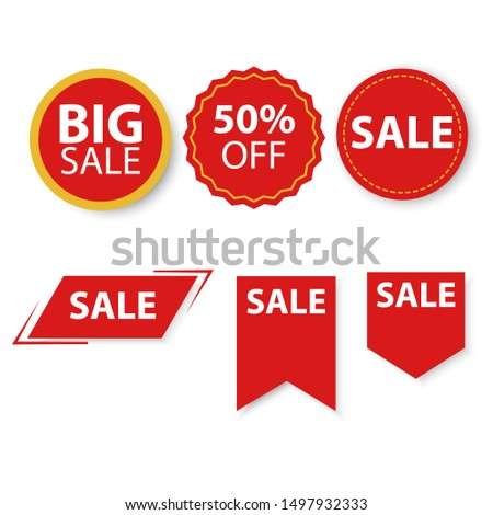 Sale tags with multiple shapes, big sale campaing. Foto stock ©