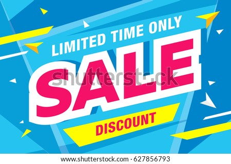 Sale template banner in bright colors, vector illustration