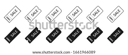 Sale, tickets or coupons collection. Sale special offer. Up to 50% off. Sale ticket or coupon vector icons, isolated on white background. Vector illustration.
