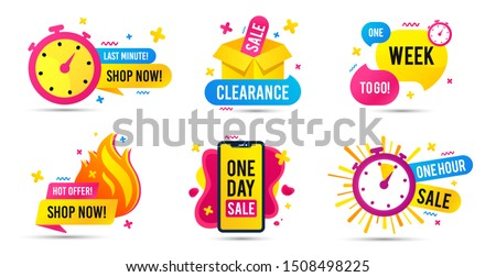 Sale timer badges. Last minute banner, one day sales and hot offer stickers. Clearance sale promotions, best deal badge, happy hours promo icon. One week to go countdown. Vector icons set