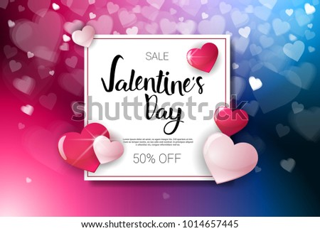 Sale Valentines Day Discounts Holiday Shopping Banner Template With Lettering And Bokeh Hearts Vector Illustration #1014657445