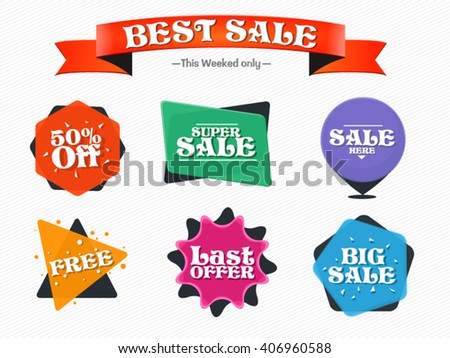 Sale vector badges with ribbon, banner, discounts.