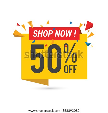 Sale vector banner template - special offer 50% - limited time only.