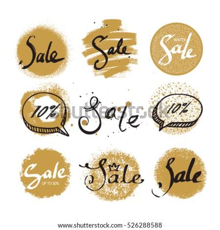 Sale vector label, badge, tag, sign, sticker. Handwritten lettering set: design elements for shop invitation, ad banner, website flyer, poster templates. Gold collection.
