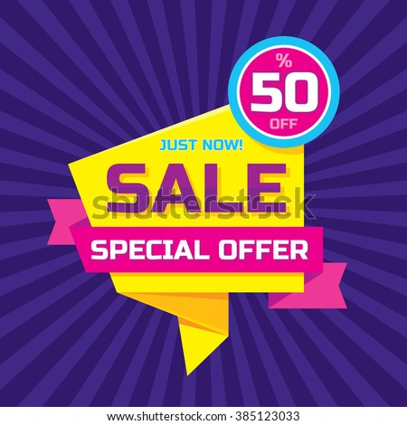 Sale vector origami concept banner template - special offer 50% off. Abstract background. Discount design layout. Sticker creative badge in yellow, pink and violet colors. Just now!