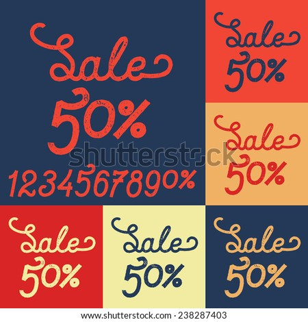 sale vintage text lettering nice colors #238287403