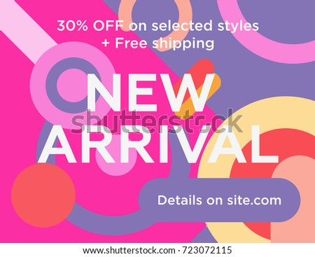 Sale web banners template for special offers advertisement. Trendy colors in a modern material design style. New arrivals concept for internet stores promo. New arrivals web banners.  Photo stock ©