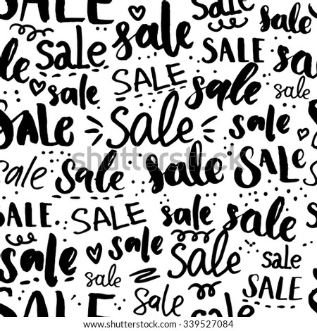 Sale Word Pattern Hand Drawn Words And Calligraphy