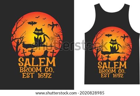 Salem Broom co Est 1692 Cat T_shirt Typography Design Vector Photo stock ©