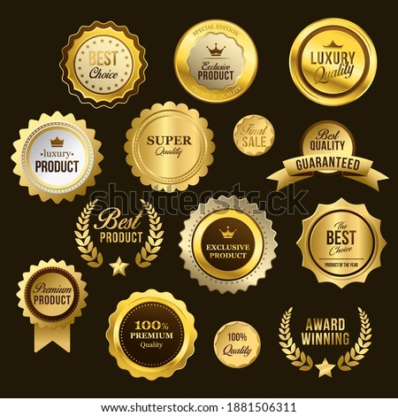 Sales and Promotional Batches Premium Quality Best Choice Award Winning Best Product Golden Labels Flat Vector