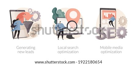 Sales and SEO digital strategy abstract concept vector illustration set. Generating new leads, local search optimization, mobile media, sales funnel, crm, communication channel abstract metaphor. Foto stock ©