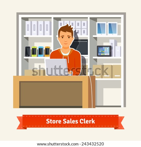 sales clerk working with