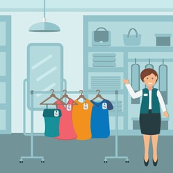 Sales consultant in a women's clothing store in the flat style, color vector illustration, design, decoration