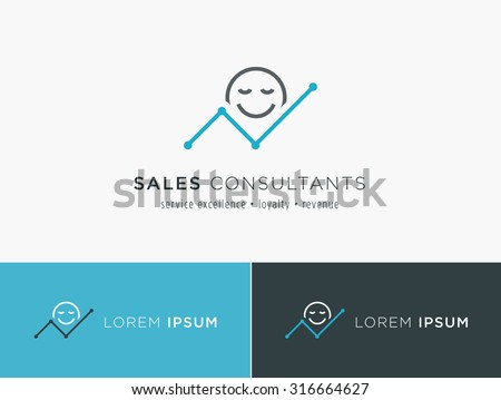 Sales consultant, sales trainer or mystery shopper company logo. Customer satisfaction and growing revenue chart symbol.