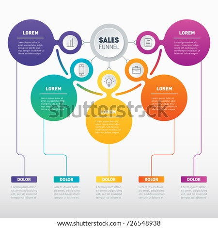 Sales funnel or Business presentation concept with 5 options. Web Template of a sales pipeline, purchase funnel, info chart or diagram. Infographic of technology or education process with five steps.