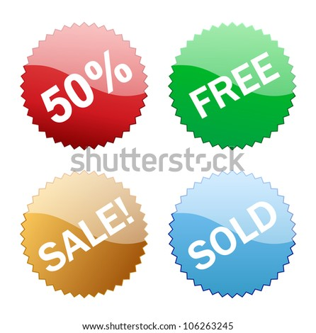 Sales glossy button icon on white