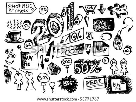 sales hand drawn icons