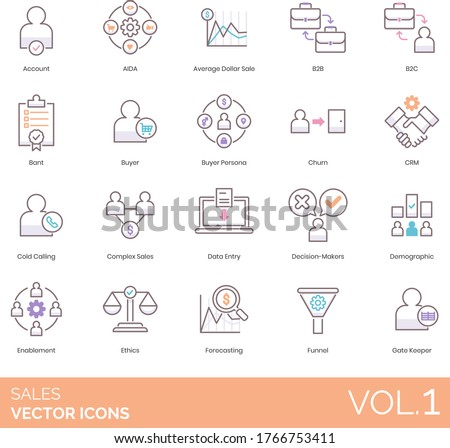 Sales icons including account, AIDA, average dollar, b2b, b2c, BANT, buyer persona, churn, CRM, cold calling, complex, data entry, decision maker, demographic, enablement, ethics, forecasting, funnel. Stock foto ©