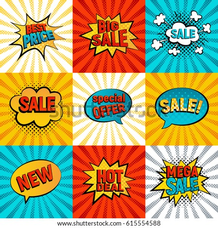 Sales icons vector set. Big, Mega sale, Best price and Hot deal comic style, card on background with rays. New, Special offer on spech bubble. Explosion bubbles, discount promotion pop art style