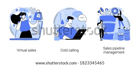 Sales management team abstract concept vector illustration set. Virtual sales, cold calling, sales pipeline management, call center, CRM lead conversion, telemarketing script abstract metaphor.