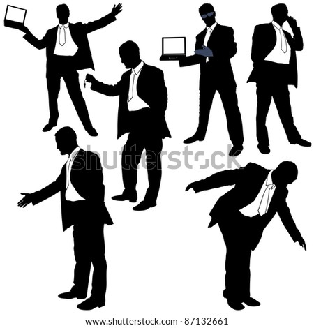 Sales Manager - black business silhouettes, vector