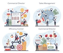 Sales manager or commercial director concept set. Business planning and sales growth. Sales promotion and comercial operations concept. Vector illustration in cartoon style