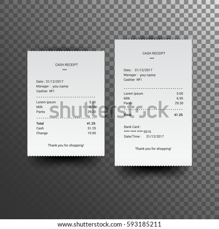 Sales receipt. The printed receipt. Bill atm template. vector illustration, isolated on a transparent background