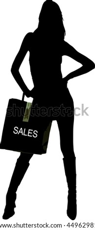 sales shopping - fashion victim girl standing with bag isolated vector illustration