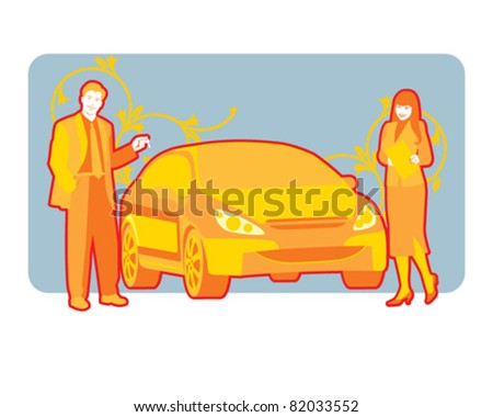 Sales situation in a car dealership, man, woman and auto illustration