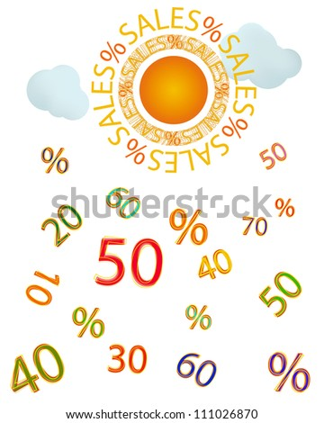 Sales/Sun with sale text for sun rays,some light clouds that raining numbers.