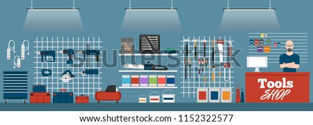 Salesman in tools shop interior banner. Assortment of hand instruments and power tools. Showcase of tool store vector illustration in flat style.