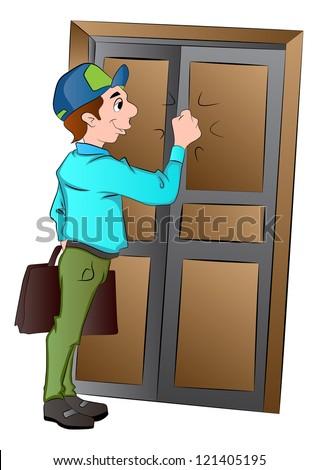 Salesman Knocking On A Door Vector Illustration