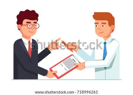Salesman passing contract document with pen to his client business man for signature. Closing deal successfully. Flat style vector illustration isolated on white background.