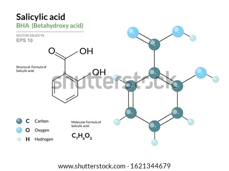 Salicylic acid. BHA Betahydroxy acid. Structural chemical formula and molecule 3d model. Atoms with color coding. Vector illustration