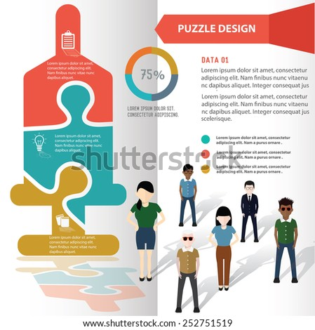 Saline puzzle info graphic design and character,clean vector