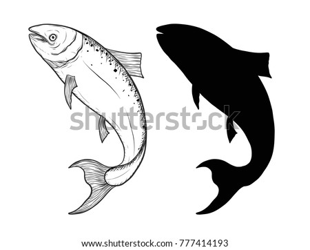 Salmon art highly detailed in line art style.Fish vector by hand drawing.Fish tattoo on white background.Black and white fish vector on white background.Salmon sketch for coloring book.