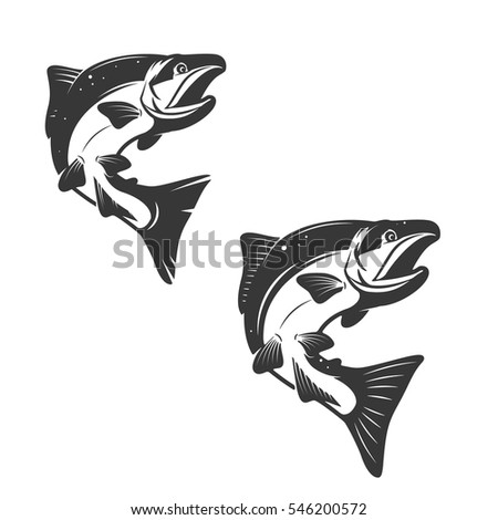salmon fish icons isolated on