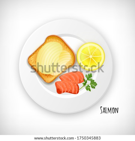 salmon fish steak slice  toast