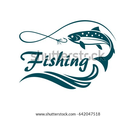 salmon fishing emblem with