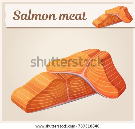 salmon meat icon cartoon