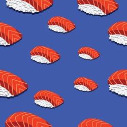 salmon pattern sushi japanese food Background Vector